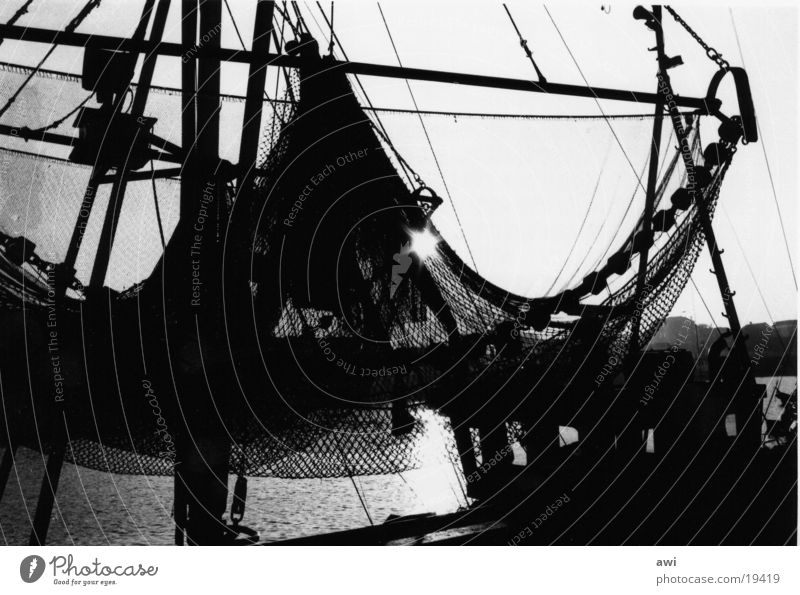 fishing nets Fishing net Fishing boat Lake Fishery Crab cutter Ocean Back-light Photo laboratory Navigation Harbour Black & white photo Contrast