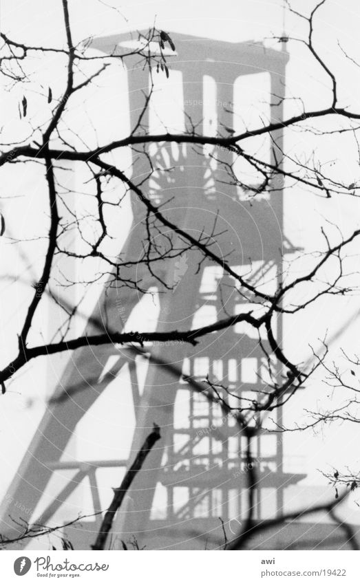 winding tower Mine Mine tower Industry Branch Black & white photo Contrast