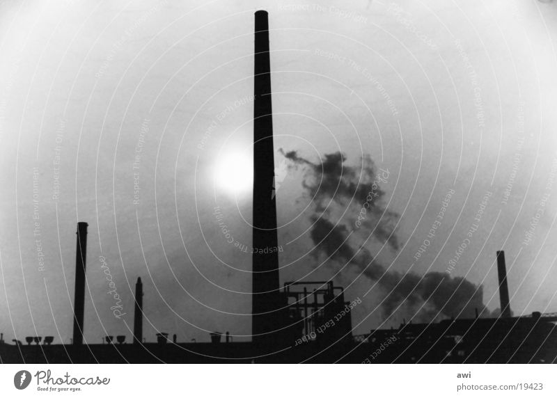 nightshade Mine Coking plant Industrial architecture Architecture Chimney Sun Fog Black & white photo