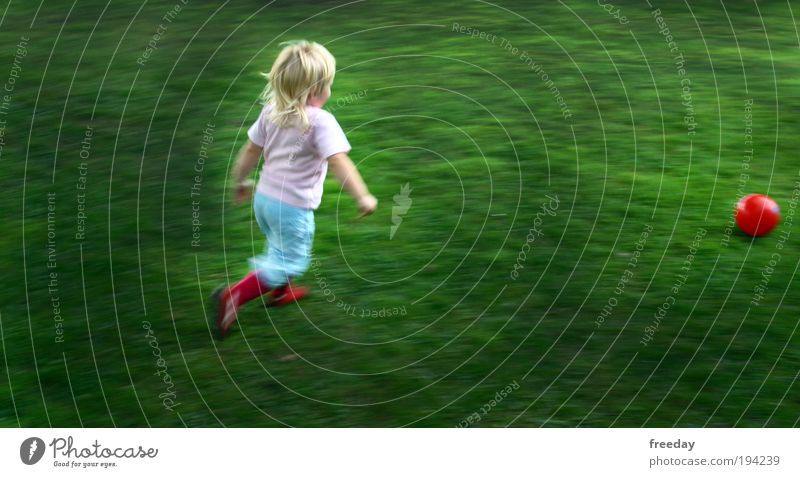 Child Girl Joy Meadow Sports Playing Grass Infancy Walking Speed Ball Toddler Running Joie de vivre (Vitality) Endurance Football pitch