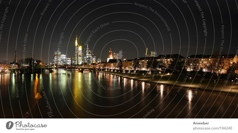 Skyline of Frankfurt, river view with Main from the east House (Residential Structure) Office work Art Landscape River bank Hesse Germany Europe european union