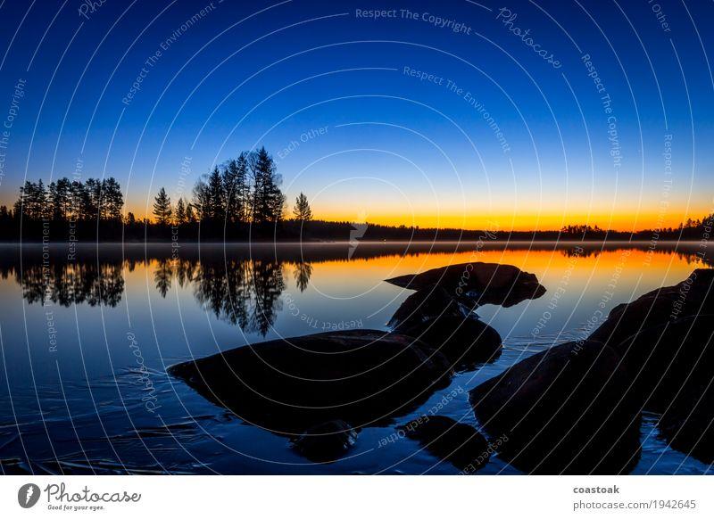 Blue hour at Salajärvi Nature Landscape Water Cloudless sky Sunrise Sunset Autumn Beautiful weather Lakeside Onkiniemi Finland Deserted Stone Cool (slang)