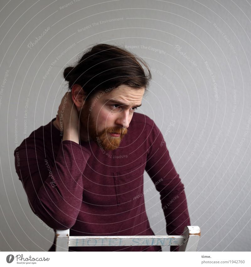 . Chair Room Masculine Man Adults 1 Human being Shirt Brunette Long-haired Beard Observe Think To hold on Looking Beautiful Safety Protection Watchfulness Calm