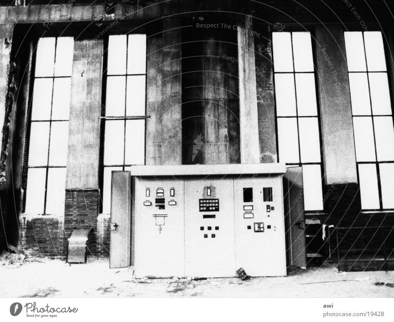 Morbid charm of decay Industrial architecture Control desk Mine Industrial heritage Architecture Industrial Photography Black & white photo