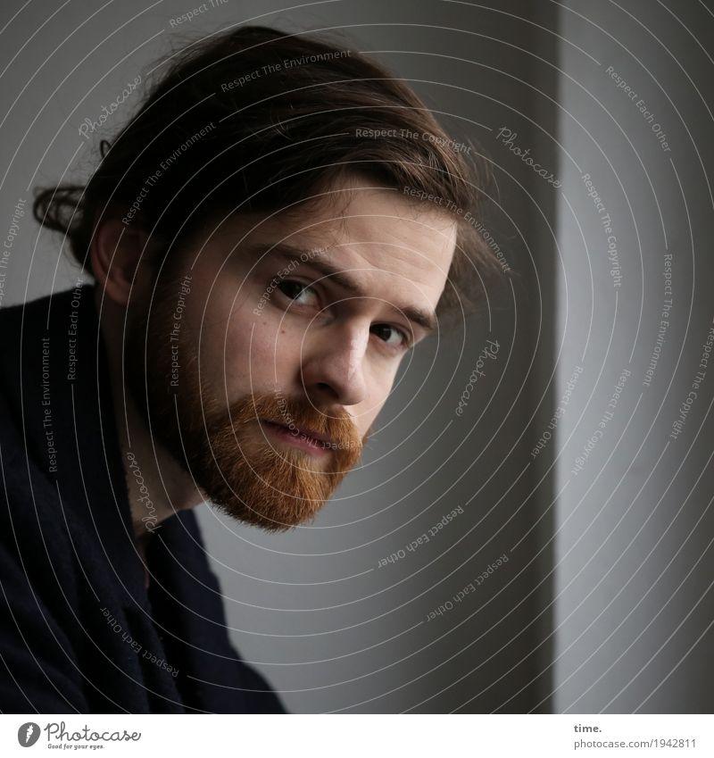 . Room Masculine Man Adults 1 Human being Shirt Brunette Long-haired Braids Beard Observe Think Looking Wait Esthetic Dark Self-confident Cool (slang) Willpower