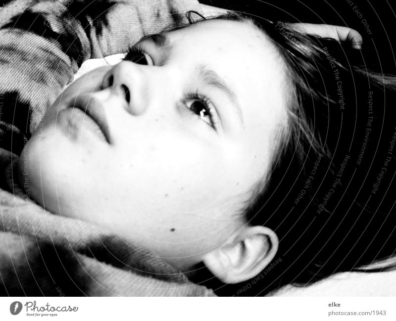thinking about? Dream Thought Think Lie Meditative Dreamily Looking away Black & white photo Upward Face of a child Girl