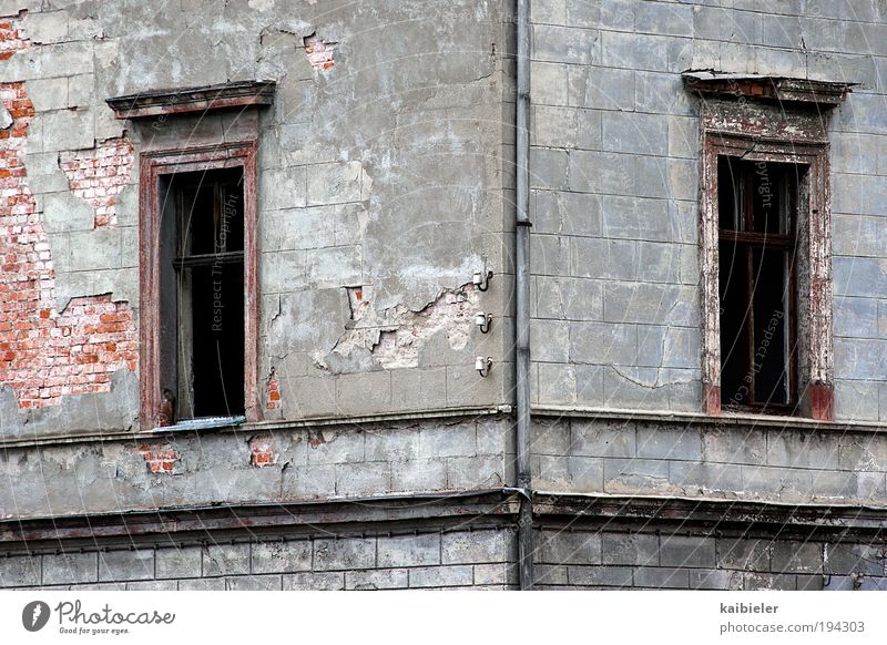 corner window Deserted Ruin Manmade structures Building Architecture Villa Plaster Brick wall Wall (barrier) Wall (building) Facade Window Eaves Old Dark
