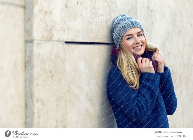 Pretty young woman smiling at the camera Happy Beautiful Face Winter Woman Adults 1 Human being 18 - 30 years Youth (Young adults) Autumn Scarf Hat Blonde