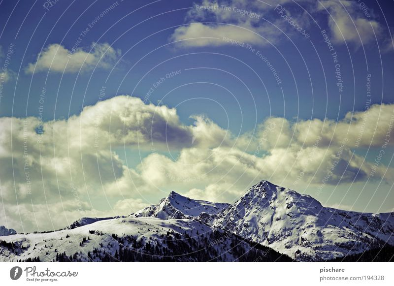 Sky Nature Blue Clouds Winter Far-off places Snow Freedom Mountain Landscape Environment Large Retro Alps Infinity Respect