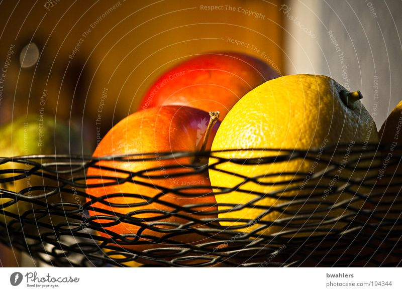 Kitchen Still Life Food Fruit Apple Nutrition Vegetarian diet Flat (apartment) Room Bowl Metal Hang Healthy Beautiful Round Juicy Sour Sweet Yellow Red To enjoy