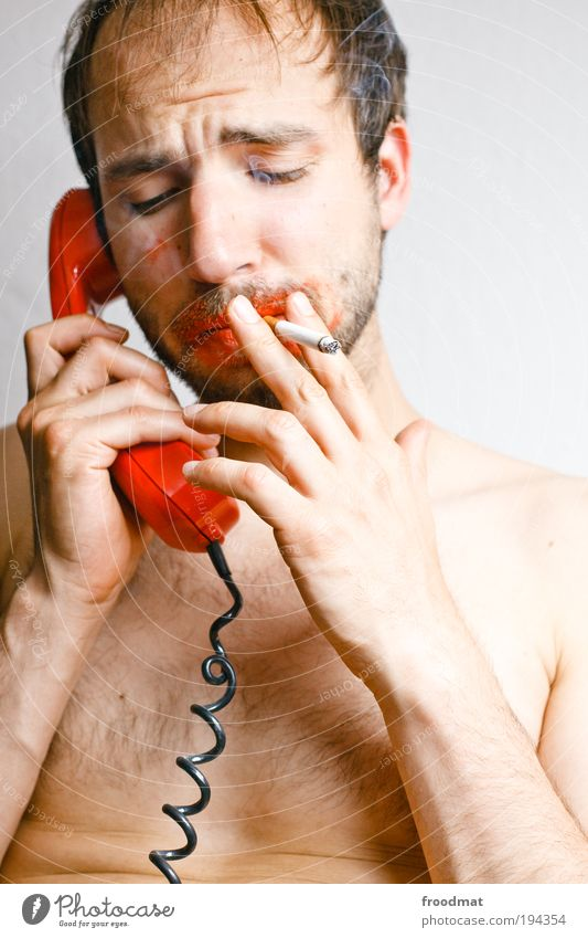 hot-line Human being Masculine Brunette Designer stubble Communicate Smoking To talk To call someone (telephone) Dirty Uniqueness Funny Retro Thorny Trashy