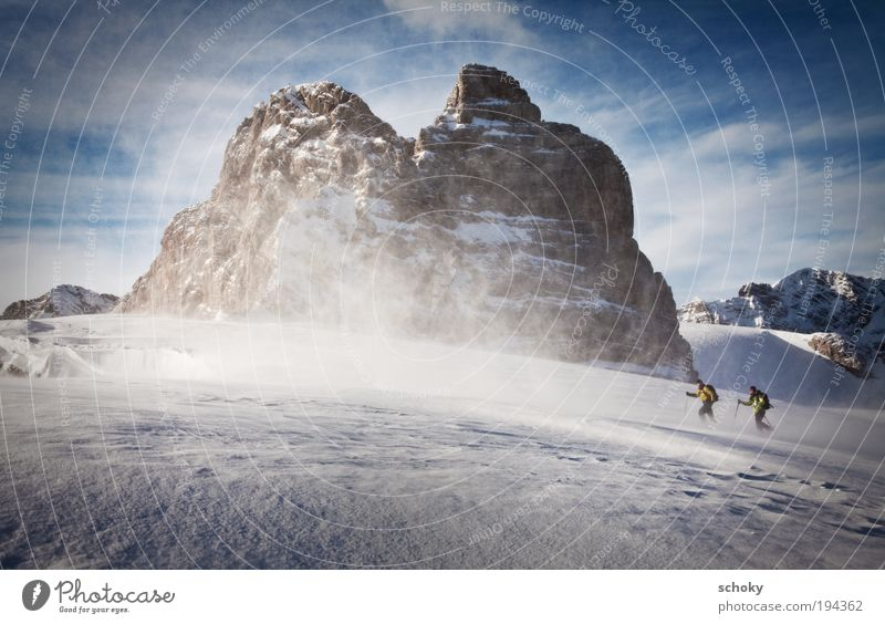 """Stormy Sports Winter sports Hiking Skiing Skis Snow shoes Ski run """"Offpist Territory Glaciers Human being Masculine Couple Adults 2 Landscape Clouds"""