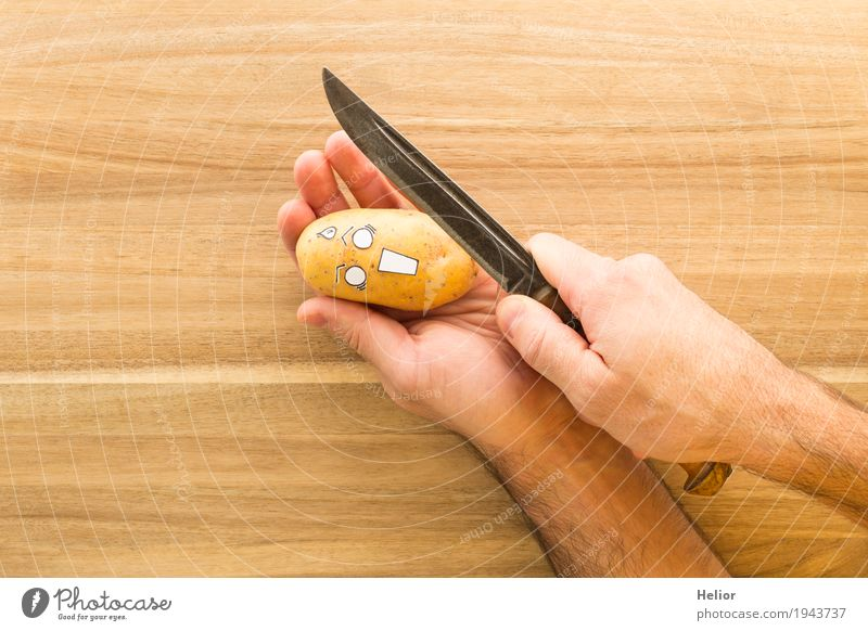 Potato in panic fear of a sharp armor knife Vegetable Potatoes Hand Chopping board Knives Creepy Delicious Funny Brown Black White Emotions Pain Fear Horror