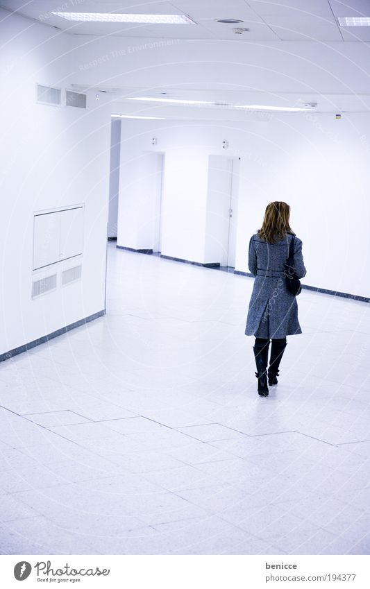 white walk Woman Human being Corridor White Bright Empty Going Coat Loneliness Airport Back Rear view voyage Lighting Hall Artificial light Lamp Ground