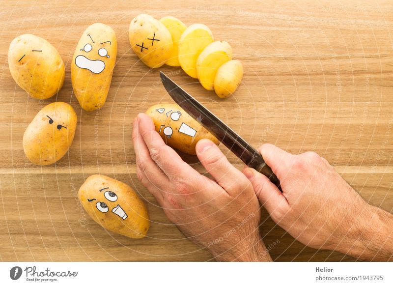 Potatoes in panic fear Vegetable Nutrition Hand Chopping board Knives Wood Metal Creepy Brown Black White Emotions Pain Fear Threat Fear of death Distress Comic