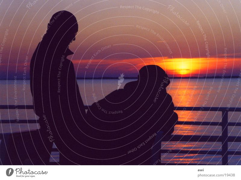 Objective romance Friendship Sunset Cold Reflection Red Dusk Ocean Lake Couple Looking Evening Water Bridge In pairs