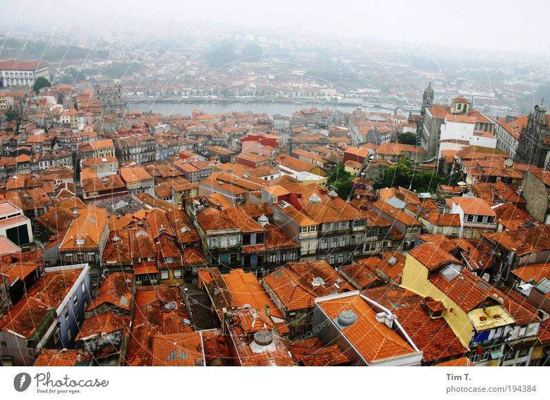 Red PORTO Porto Portugal Europe Town Port City Downtown Old town Skyline Deserted House (Residential Structure) Roof Chimney Attachment River Haze Colour photo