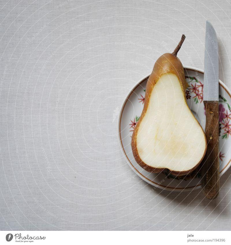 Pear Food Fruit Nutrition Organic produce Vegetarian diet Diet Crockery Plate Knives To enjoy Esthetic Simple Juicy Clean Gray Average Division Healthy Vitamin