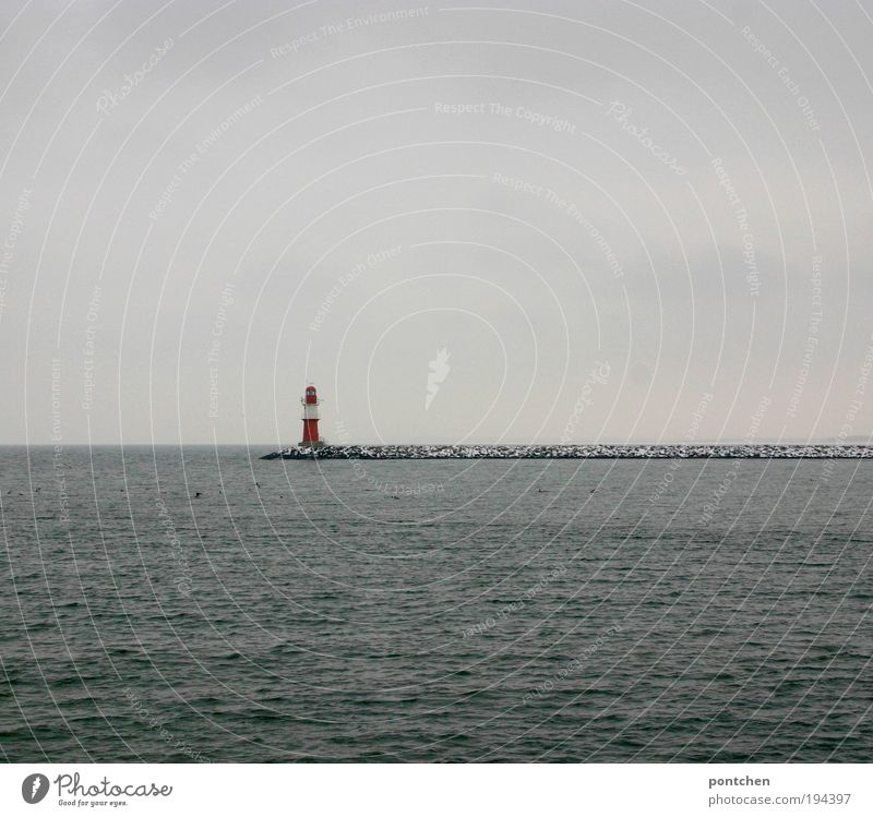 Warnemünde lighthouse Vacation & Travel Tourism Trip Freedom Beach Ocean Island Waves Seaman Environment Landscape Elements Water Clouds Winter Weather