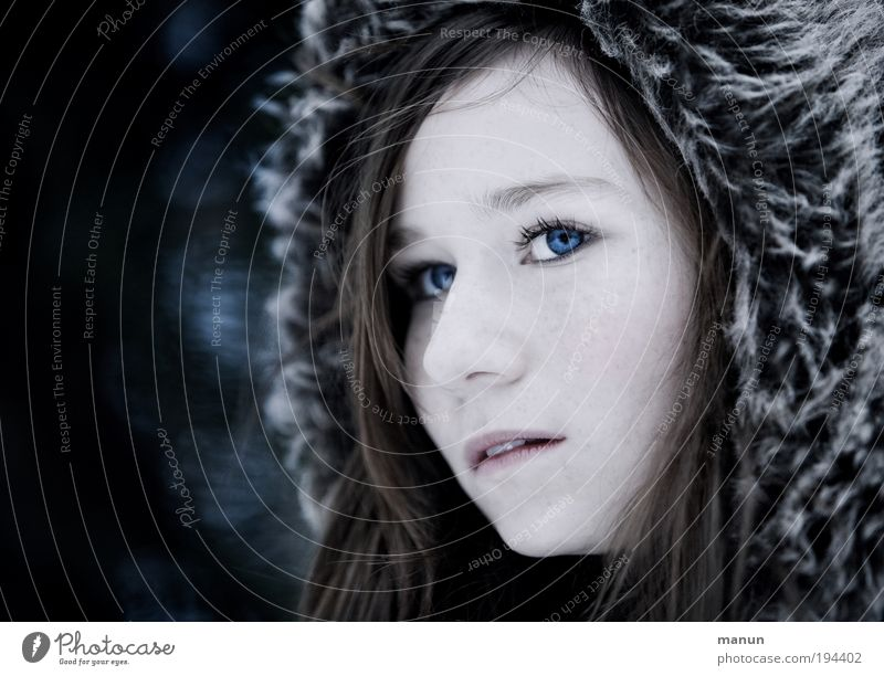 Human being Youth (Young adults) Blue Winter Face Loneliness Dark Cold Feminine Healthy Hope Authentic Trust Longing Natural Curiosity