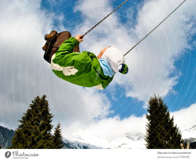 a sip of heaven Contentment Relaxation Leisure and hobbies Playing Winter vacation Mountain Snowcapped peak Swing To swing Flying Happy Joy