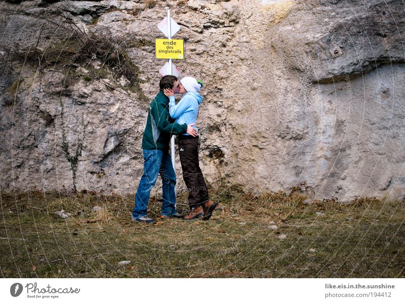 Human being Nature Youth (Young adults) Love Emotions Grass Mountain Happy Stone Couple Adults Masculine Rock Happiness Kissing Joie de vivre (Vitality)