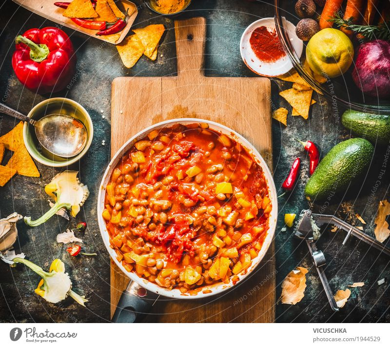 Vegetarian Chili Con Carne Dish in Pan Vegetable Soup Stew Herbs and spices Cooking oil Nutrition Lunch Dinner Organic produce Vegetarian diet Diet Crockery Pot