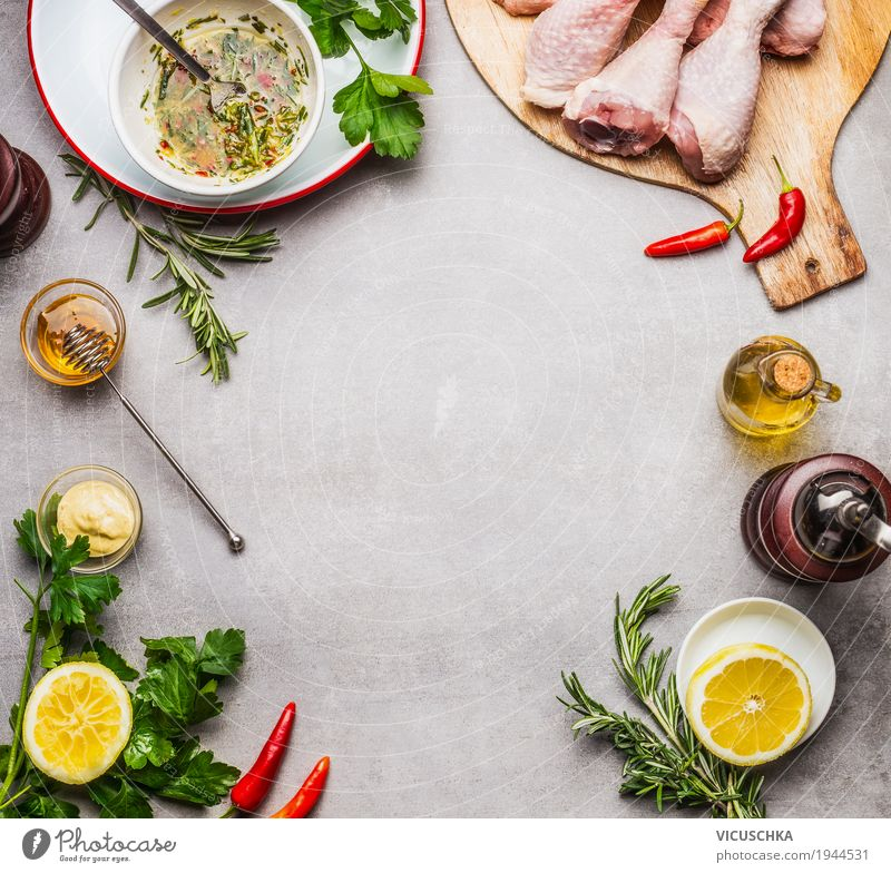 Prepare chicken with marinade Food Meat Herbs and spices Cooking oil Nutrition Lunch Dinner Banquet Organic produce Diet Crockery Style Healthy Eating Life