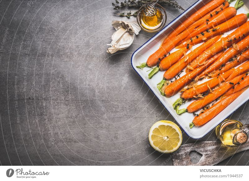 Roasted carrots on baking tray Food Vegetable Herbs and spices Cooking oil Nutrition Organic produce Vegetarian diet Diet Crockery Style Design Healthy