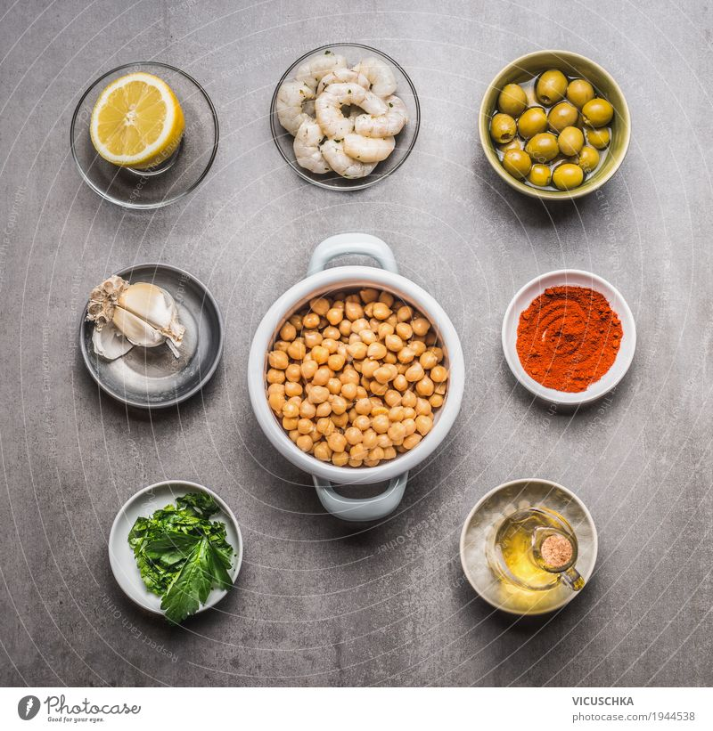 Ingredients for healthy chickpeas salad Food Seafood Vegetable Lettuce Salad Herbs and spices Cooking oil Nutrition Lunch Dinner Organic produce Vegetarian diet