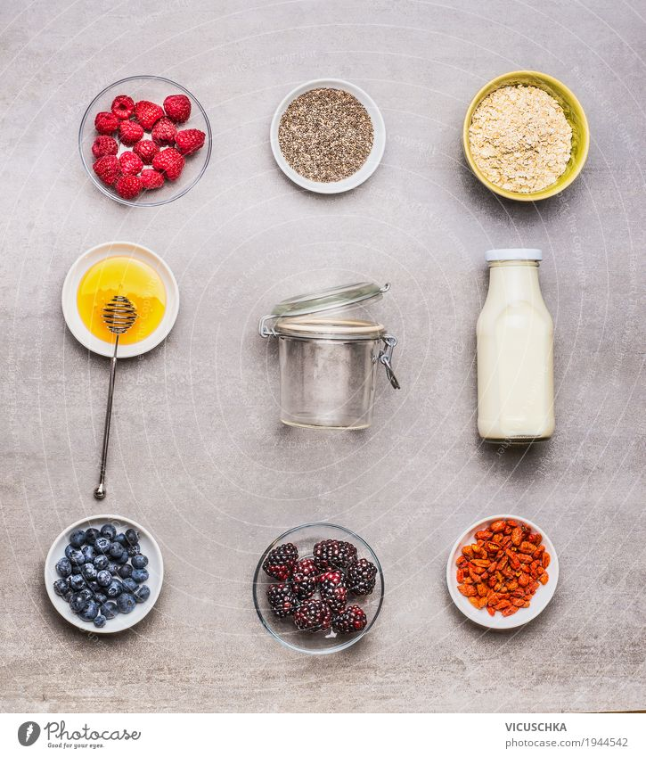 Ingredients for a healthy breakfast Food Dairy Products Fruit Grain Dessert Nutrition Breakfast Beverage Milk Crockery Bowl Bottle Style Design Healthy