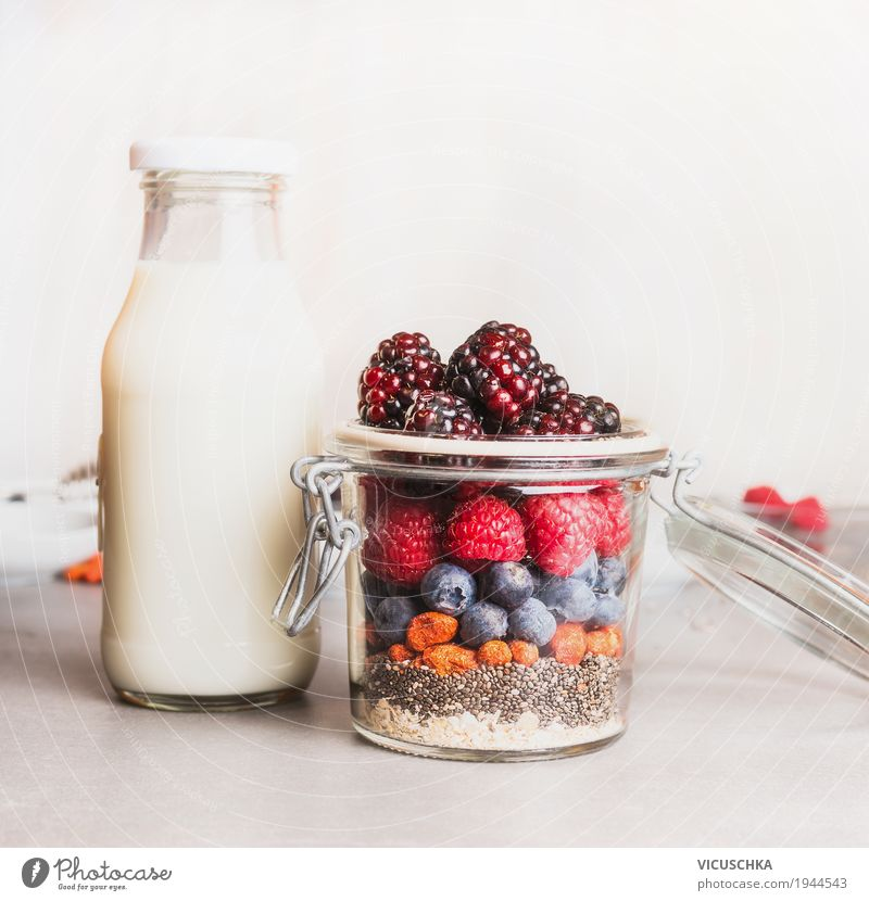 Healthy breakfast in a glass Food Yoghurt Dairy Products Fruit Grain Dessert Nutrition Breakfast Organic produce Vegetarian diet Diet Crockery Bottle Glass