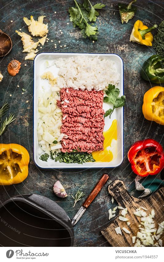 Meat filling Preparing with minced meat and rice Food Vegetable Grain Herbs and spices Cooking oil Nutrition Lunch Crockery Bowl Pot Pan Style Design