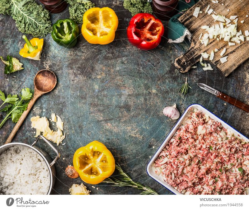 Paprika and minced meat with rice Food Meat Vegetable Herbs and spices Cooking oil Nutrition Lunch Dinner Organic produce Crockery Bowl Pot Pan Spoon Style