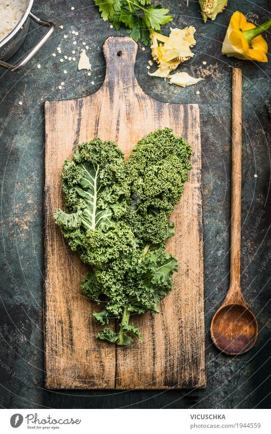 Green cabbage on rustic chopping board with cooking spoon Food Vegetable Lettuce Salad Nutrition Organic produce Vegetarian diet Diet Spoon Style Design Healthy