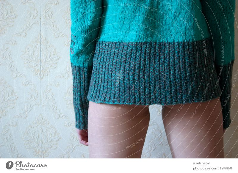 Another one sweater girl Human being Youth (Young adults) Beautiful Joy Adults Relaxation Feminine Wall (building) Eroticism Wall (barrier) Dream Back Skin Stand Cute