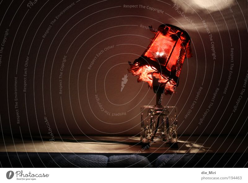 Little Red Riding Hood Lamp Lampshade Hang Colour photo Interior shot Deserted Copy Space left Neutral Background Evening Night Artificial light Light Shadow