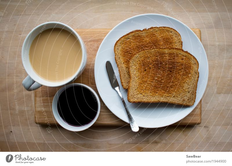 Coffee, Jelly & Toast Food Bread Jam Nutrition Eating Breakfast To have a coffee Organic produce Beverage Drinking Hot drink Crockery Plate Bowl Cup Mug Knives