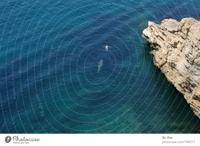 Human being Man Water Vacation & Travel Ocean Summer Loneliness Adults Freedom Waves Back Swimming & Bathing Trip Tourism Dive Bay