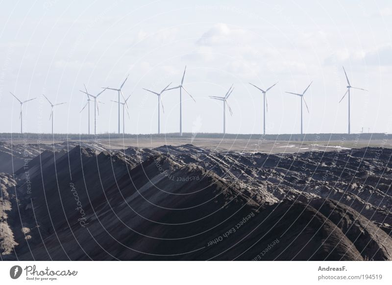 alternatives Industry Energy industry Renewable energy Wind energy plant Coal power station Environment Landscape Sand Sustainability Gray Soft coal mining