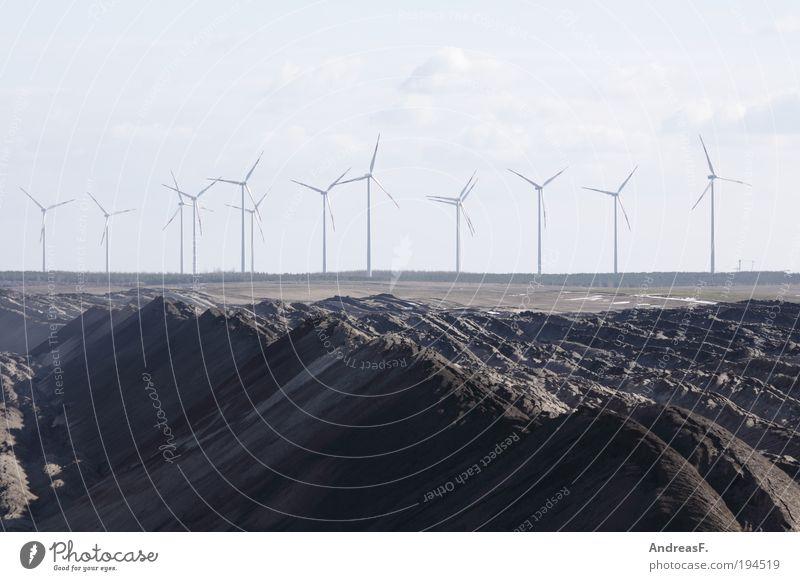 alternatives Industry Energy industry Renewable energy Wind energy plant Coal power station Environment Landscape Sand Sustainability Gray Soft coal mining