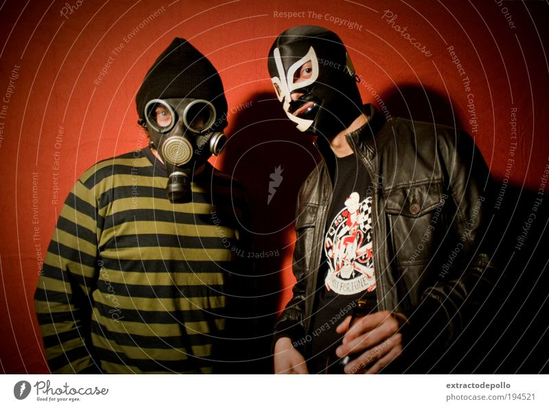 Subculture Punk Mask Colour photo Interior shot Artificial light Respirator mask Disguised Looking into the camera Man 2 Neutral Background Funster Joke Trashy
