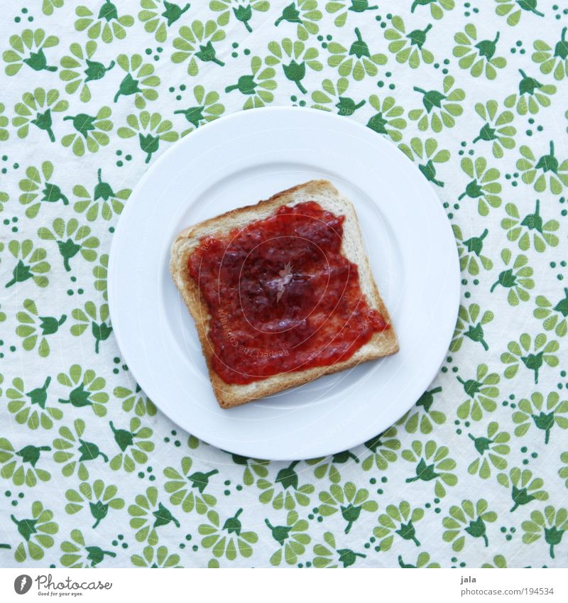 Suze's strawberry jam Food Bread Jam Nutrition Breakfast Organic produce Vegetarian diet Crockery Plate Good Delicious Red White Green Pattern Toast