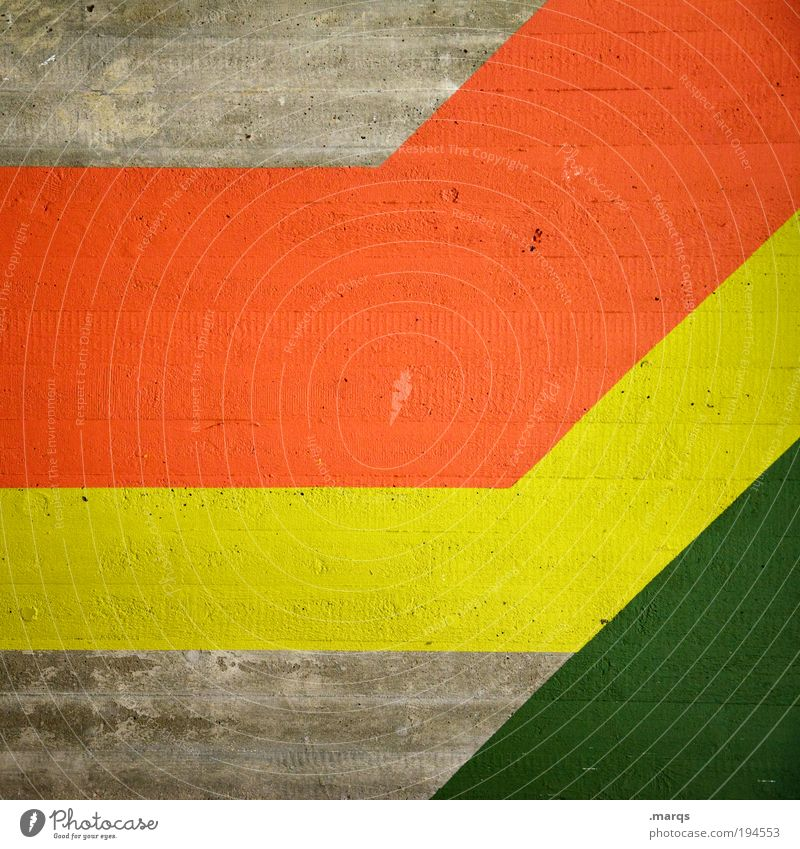 coalition Elegant Style Design Decoration Concrete Line Stripe Simple Success Hip & trendy Retro Yellow Green Red Colour Growth Politics and state Reggae