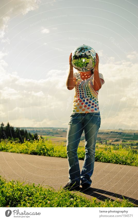 Mirror, mirror... Design Joy Human being Feminine Young woman Youth (Young adults) Head 1 Nature Landscape Sky Clouds Summer T-shirt Mask Disco ball Looking