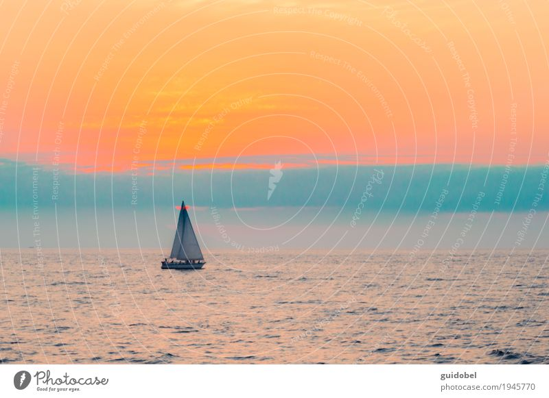 Sail boat in the ocean Sky Nature Water Landscape Ocean Relaxation Loneliness Environment Coast Art Time Watercraft Transport Contentment Happiness Adventure
