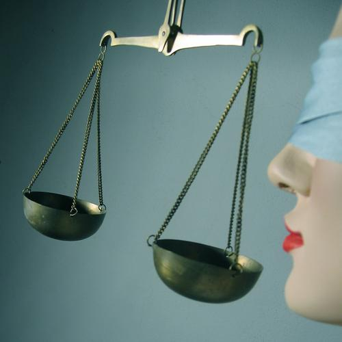 legal department Equal Lady Justice Blind Blindfold Laws and Regulations Colour photo Artificial light Symbols and metaphors Deserted Think Fairness Figure