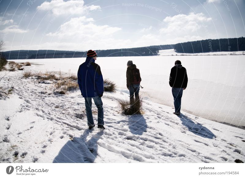winter walk Lifestyle Well-being Relaxation Calm Leisure and hobbies Trip Far-off places Freedom Winter vacation Hiking Human being Friendship 3 Group