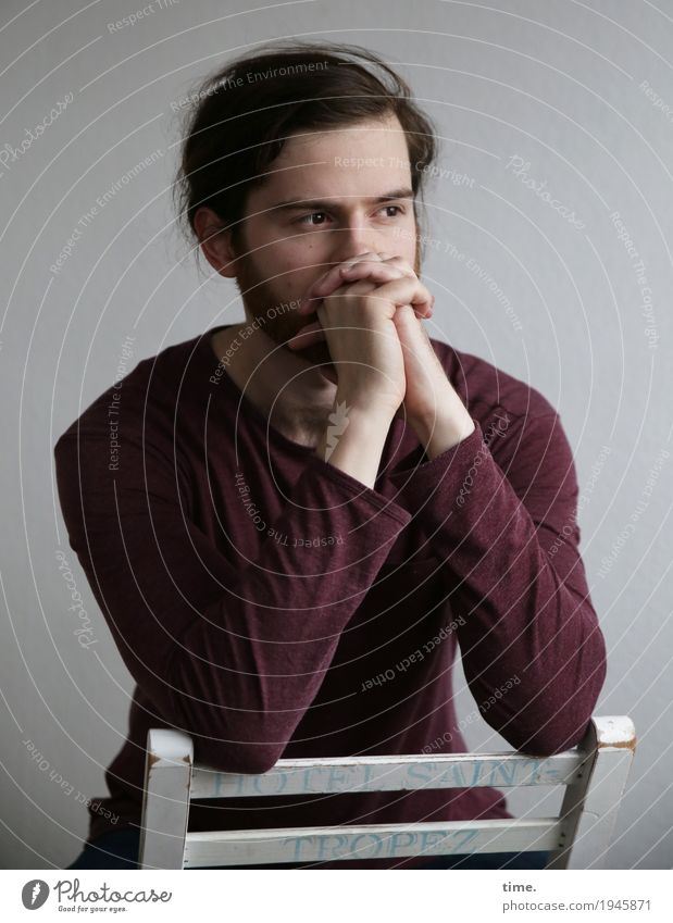 . Chair Room Masculine Man Adults 1 Human being Shirt Brunette Long-haired Beard Observe Think To hold on Looking Dream Sadness Wait Beautiful Calm Self Control