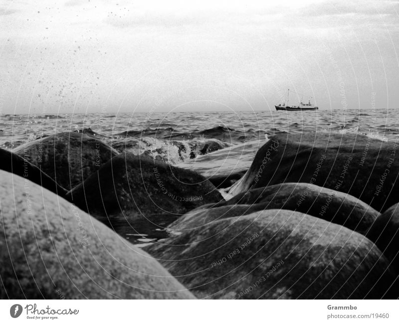 A ship will come... Ocean Watercraft Dark Gray Stone